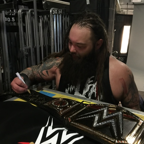 Photo of Bray Wyatt SIGNED WWE Championship Replica Title (Elimination Chamber - 02/12/17)