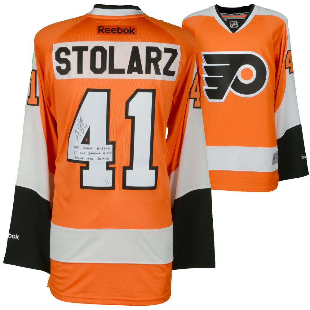 Anthony Stolarz Philadelphia Flyers Autographed 50th Anniversary Season Orange Reebok Premier Jersey with Multiple Inscriptions - Limited Edtion of 1