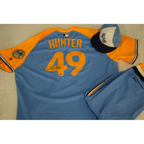 Photo of Game-Used Autographed Turn Back the Clock Jersey, Hat and Pants: Tommy Hunter