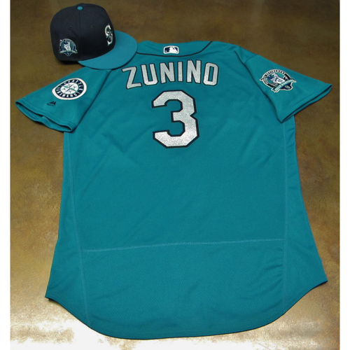 Photo of Mike Zunino Green Game-Used Jersey & Cap With Edgar Martinez Patch Worn 8-11-2017