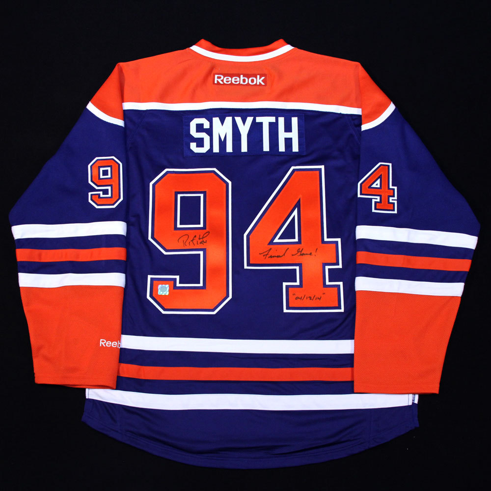 Ryan Smyth #94 - Autographed Edmonton Oilers Royal Blue RBK Replica Hockey Jersey With Special Final Game 4-12-14 Inscription !