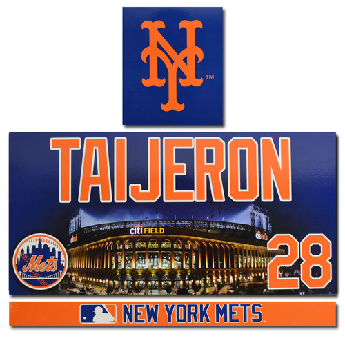 Photo of Travis Taijeron #28 - Game Used Citi Field Locker Nameplate Set - 2017 Season