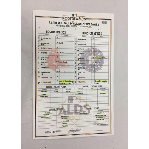 Photo of October 6, 2017 Red Sox at Astros ALDS Game 2 Game-Used Lineup Card