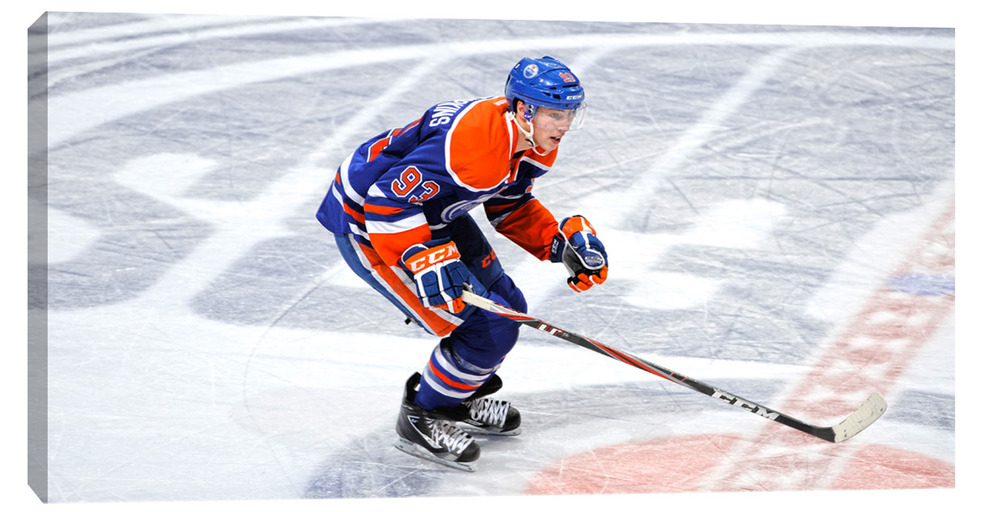 Nugent-Hopkins,R Unsigned 14x28 Canvas Oilers Dark Jersey Horizontal