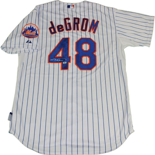 Photo of Jacob deGrom Autographed NY Mets Authentic Pinstripe Jersey