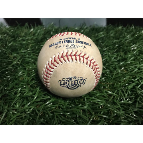Photo of 2017 Opening Day Game-Used Baseball: Logan Morrison and Tim Beckham