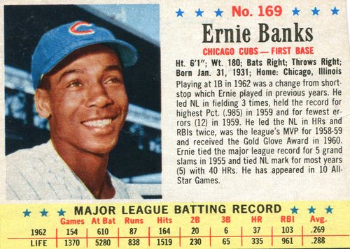 Photo of 1963 Post #169 Ernie Banks  -- Scrapbook residue on back