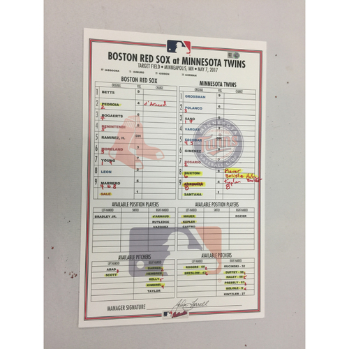 Photo of Red Sox at Twins May 7, 2017 Game-Used Lineup Card - Red Sox Win 17 -6, Sale Win, Ks 10
