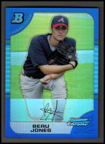 Photo of 2005 Bowman Chrome Draft Blue Refractors #33 Beau Jones FY