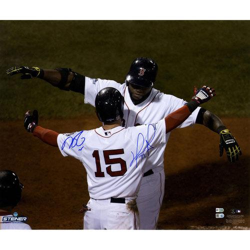 Photo of David Ortiz/Dustin Pedroia Dual-Signed Horizontal Hug with Pedroia at Homeplate 20x24 Photo