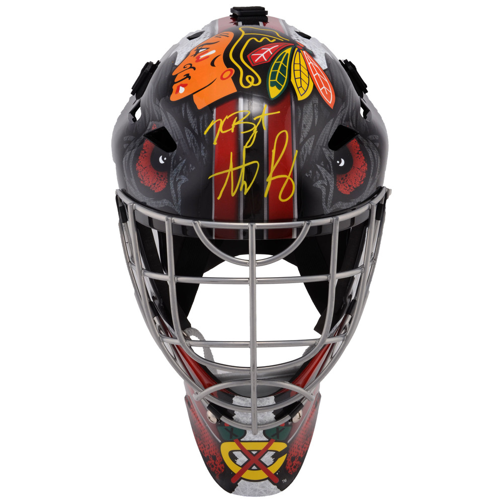 Kris Bryant and Anthony Rizzo Chicago Cubs Autographed Chicago Blackhawks Full-Size Goalie Mask
