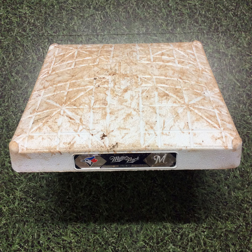 Photo of Game-Used 05/24/17 2nd Base - TOR@MIL - Goins 1st Career Grand Slam; Broxton, Santana, Pillar, Bautista, & Travis HRs