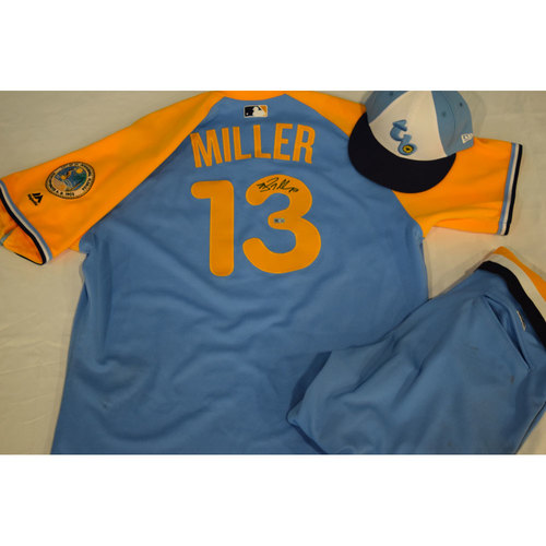 Photo of Game-Used Autographed Turn Back the Clock Jersey, Hat and Pants: Brad Miller