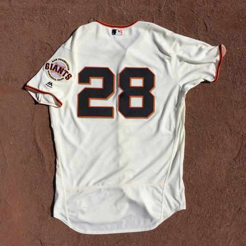Photo of San Francisco Giants - 2017 Game-Used Jersey - Buster Posey - worn on 10/1 for the Final Game of 2017 - 1 for 1, 2 Rs, BB (size 46)