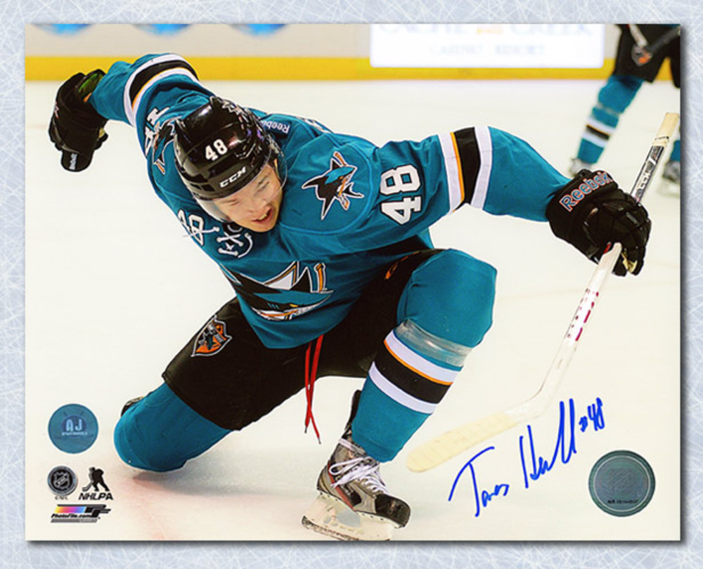 Tomas Hertl Autographed San Jose Sharks 4 Goal Celebration 8x10 Photo