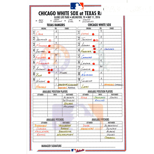 Photo of Texas Rangers Game-Used Lineup Card vs Chicago White Sox on May 11, 2016