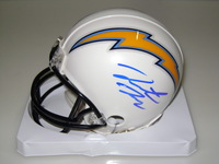 NFL - CHARGERS HUNTER HENRY SIGNED CHARGERS MINI HELMET (SMUDGED SIGNATURE)