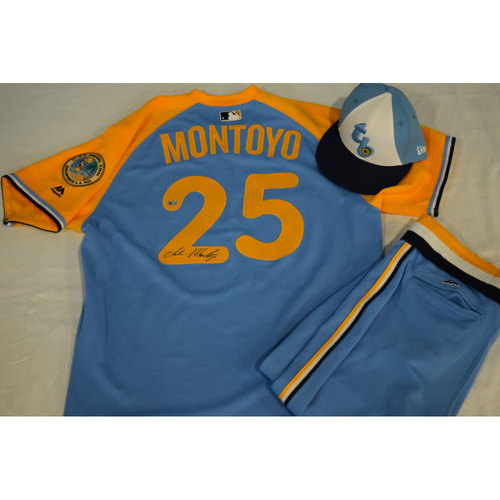Photo of Game-Used Autographed Turn Back the Clock Jersey, Hat and Pants: Charlie Montoyo