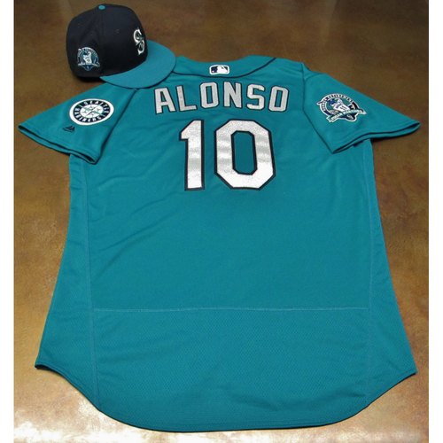 Photo of Yonder Alonso Green Game-Used Jersey & Cap With Edgar Martinez Patch Worn 8-11-2017
