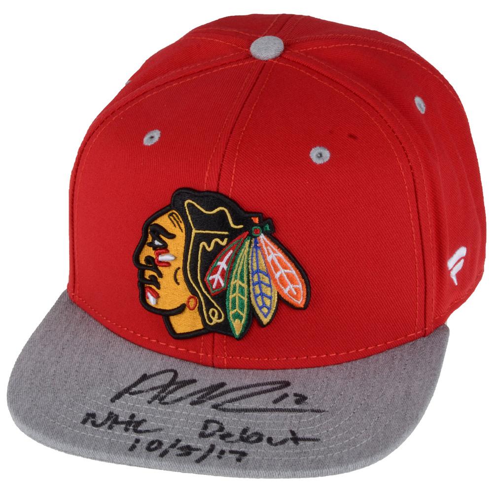 Alex DeBrincat Chicago Blackhawks Autographed Adidas Cap with NHL Debut 10/5/17 Inscription - #1 of a L.E. of 12