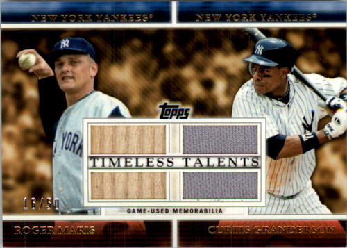 Photo of 2012 Topps Timeless Talents Dual Relics #MTT Roger Maris/Curtis Granderson
