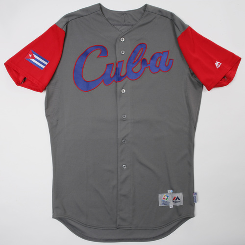 Photo of 2017 World Baseball Classic: Cuba Game-Used Road Jersey, Cespedes #16