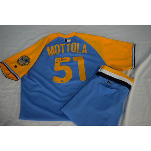 Photo of Game-Used Autographed Turn Back the Clock Jersey and Pants: Chad Mottola