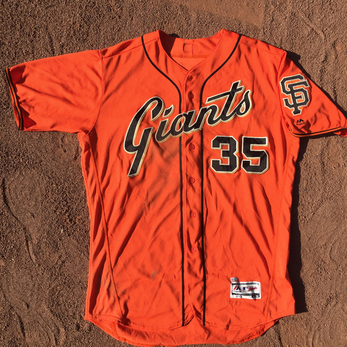 Photo of San Francisco Giants - 2017 Game-Used Jersey - Brandon Crawford - 2 HOME RUNS - worn on 8/18 (2-3, HR), 9/1 (3-5, HR, 2B), 9/15 and 9/29 (3-5, 2B) (size 48)