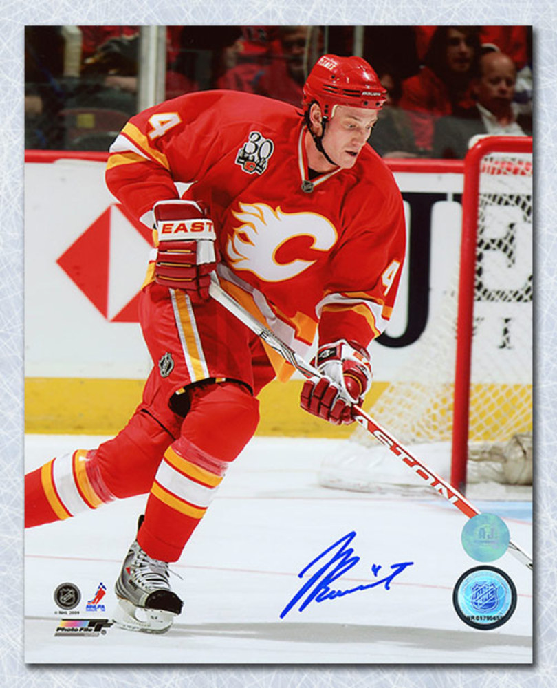 Jay Bouwmeester Calgary Flames Autographed Retro Jersey Anniversary 8x10 Photo