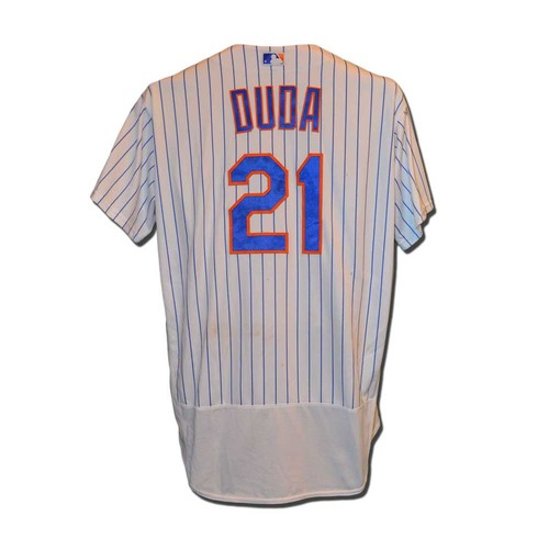 Photo of Lucas Duda #21 - Game Used White Pinstripe Jersey - Mets Set Franchise Record for Most Run in an Inning - Duda Goes 1-3, 2 Walks, Run Scored - Mets vs. Giants - 4/29/16