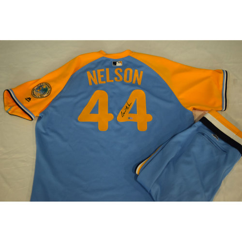 Photo of Autographed Turn Back the Clock Jersey and Pants: Jamie Nelson