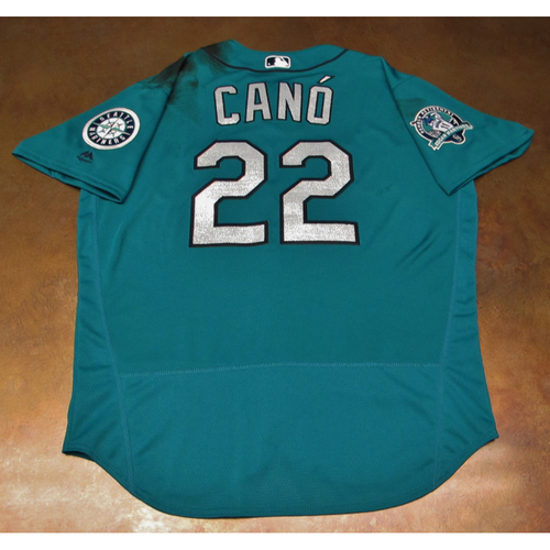 Photo of Robinson Cano Green Game-Used Jersey With Edgar Martinez Patch Worn 8-11-2017