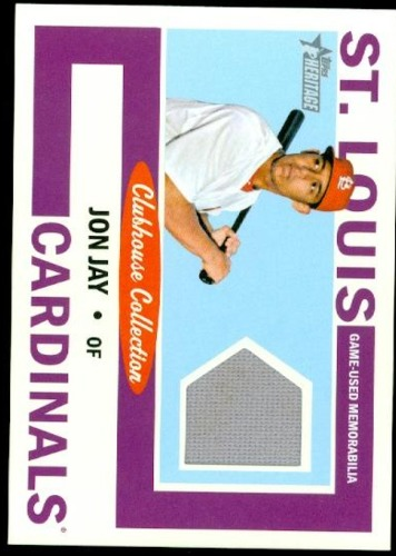 Photo of 2013 Topps Heritage Clubhouse Collection Relics Jon Jay Cubs post-season