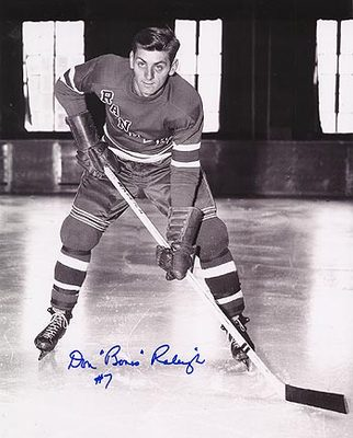 DON 'BONES' RALEIGH New York Rangers SIGNED 8x10 Photo