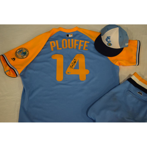 Photo of Game-Used Autographed Turn Back the Clock Jersey, Hat and Pants: Trevor Plouffe