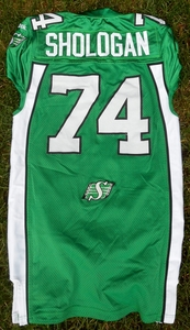 Saskatchewan Roughriders game used jersey worn by Keith Shologan