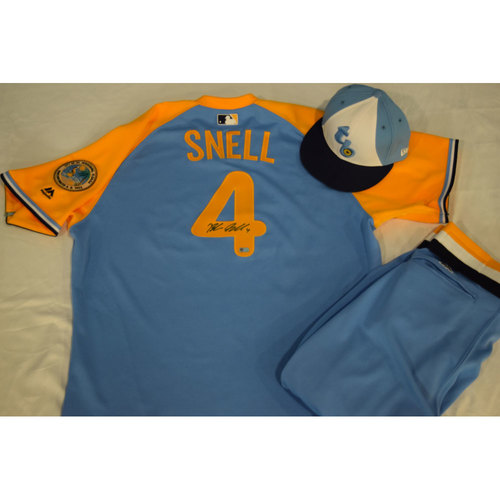 Photo of Game-Used Autographed Turn Back the Clock Jersey, Hat and Pants: Blake Snell