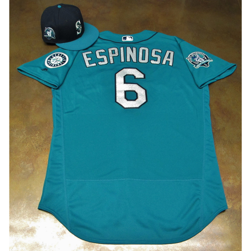 Photo of Danny Espinosa Green Game-Used Jersey & Cap With Edgar Martinez Patch Worn 8-11-2017