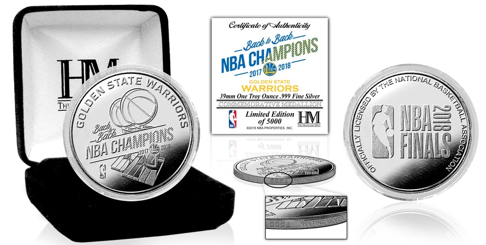 Serial #1! Golden State Warriors 2018 NBA Finals Champions Pure Silver Mint Coin