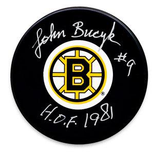 Johnny Bucyk Boston Bruins HOF Autographed Puck