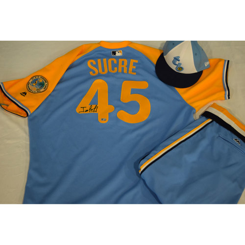 Photo of Game-Used Autographed Turn Back the Clock Jersey, Hat and Pants: Jesus Sucre