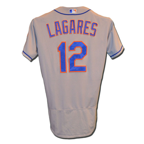 Photo of Juan Lagares #12 - Game Used Road Grey Jersey - Lagares Goes 1-5 - Mets vs. Phillies - 9/30/17