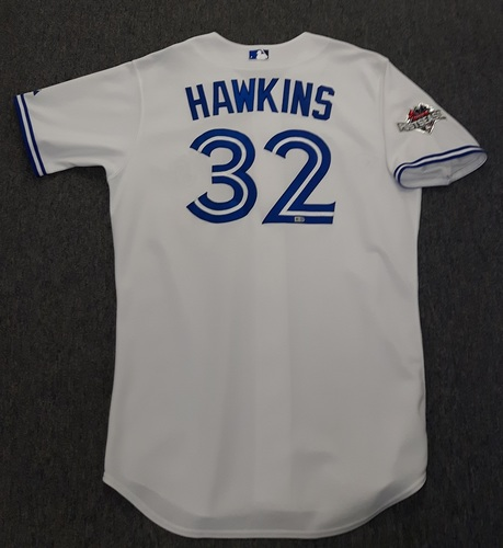 Photo of Authenticated Game Used Postseason Jersey - #32 LaTroy Hawkins (October 8, 2015: ALDS Game 1). Size 48.