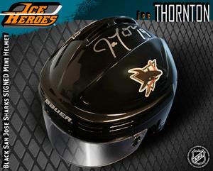 JOE THORNTON Signed San Jose Sharks Black Mini Helmet