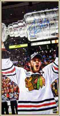 Jonathan Toews - Signed & Framed Canvas - Raising the 2013 Stanley Cup