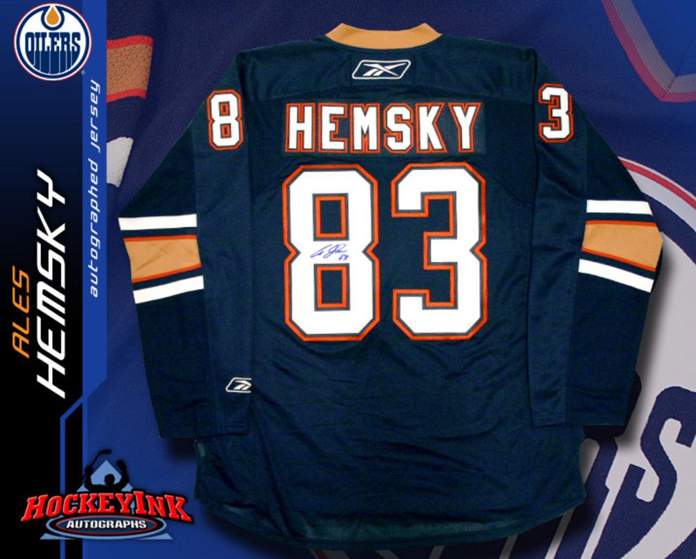 ALES HEMSKY Signed RBK Premier Blue Edmonton Oilers Jersey