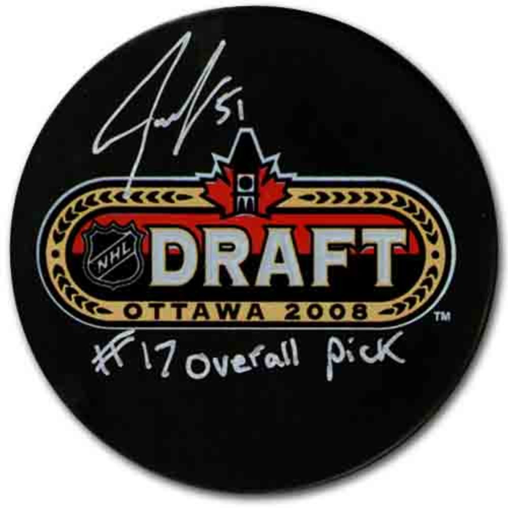 Jake Gardiner (Toronto Maple Leafs) Autographed 2008 NHL Entry Draft Puck w/17th OVERALL PICK Inscription