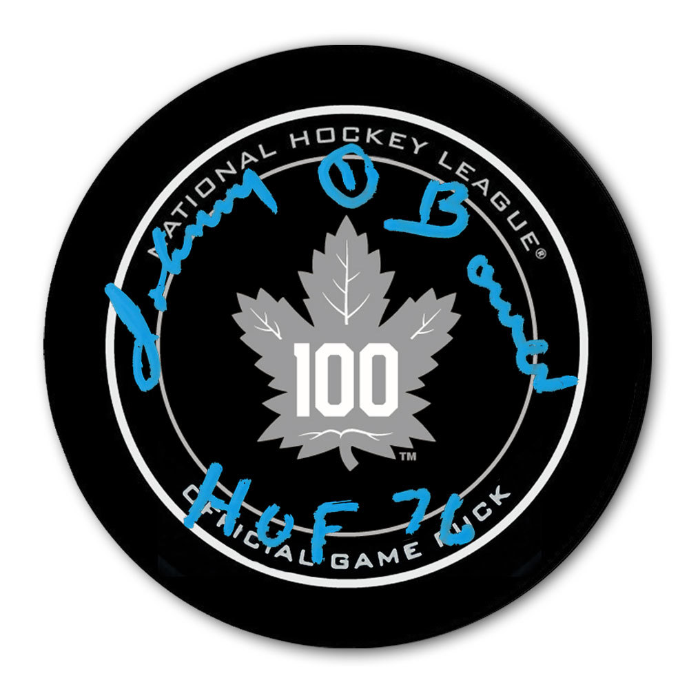 Johnny Bower Toronto Maple Leafs 100th Anniversary Autographed Official Game Puck