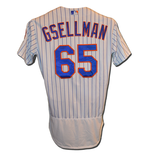 Photo of Robert Gsellman #65 - Game Used White Pinstripe Jersey - 5.0 IP, 4 H, 4 K - Mets vs. Nationals - 9/22/17