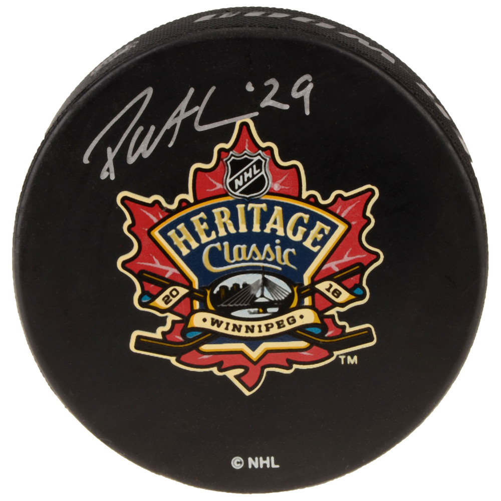 Patrik Laine Winnipeg Jets Autographed 2016 Heritage Classic Practice-Used Puck - Used During October 22, 2016 Practice Session
